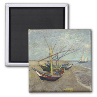 Fishing Boats on the Beach by Vincent Van Gogh Fridge Magnet