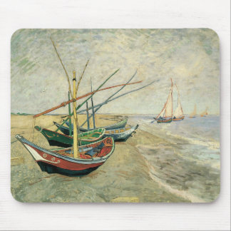 Fishing Boats on the Beach by Vincent van Gogh Mouse Mat