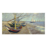 Fishing Boats on the Beach by Vincent Van Gogh Customized Photo Card