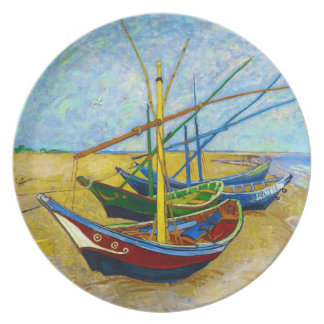 Fishing Boats on the Beach by Vincent Van Gogh Plate
