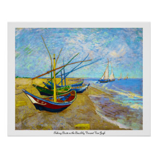 Fishing Boats on the Beach by Vincent Van Gogh Poster