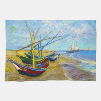 Fishing Boats on the Beach by Vincent Van Gogh Tea Towel