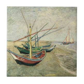 Fishing Boats on the Beach by Vincent van Gogh Tile