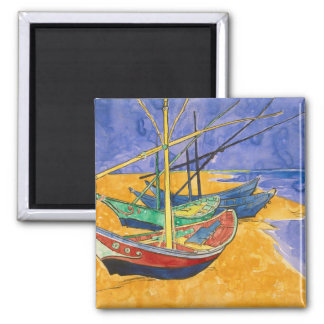 Fishing Boats on the Beach Square Magnet