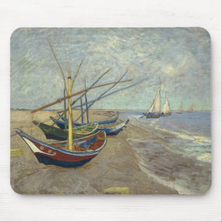 Fishing boats on the beach mouse mat