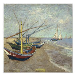 Fishing boats on the beach photo print