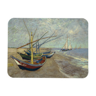 Fishing boats on the beach rectangle magnet