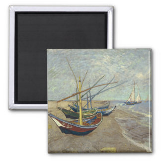 Fishing boats on the beach refrigerator magnets