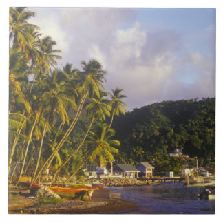 Fishing boats, Soufriere, St Lucia, Caribbean Large Square Tile