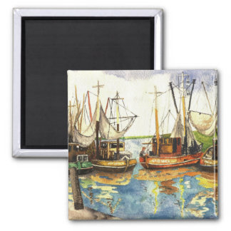 Fishing Boats Square Magnet