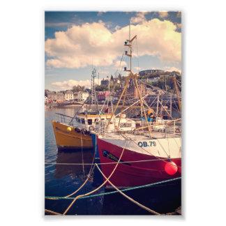 Fishing boats tied up at Oban Photo Print