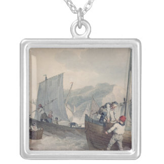 Fishing Boats Unloading Silver Plated Necklace
