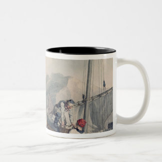 Fishing Boats Unloading Two-Tone Coffee Mug
