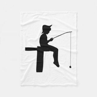 Fishing Boy Silhouette Fleece Blanket