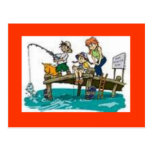 fishing cartoon art postcard