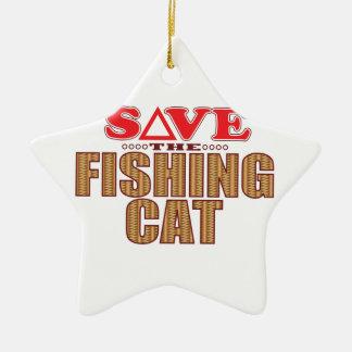 Fishing Cat Save Christmas Ornament