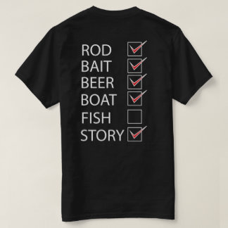 Fishing Check Off List on back Funny Black T-shirt