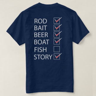 Fishing Check Off List on back Funny T-shirt