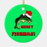 fishing Christmas Round Ceramic Decoration