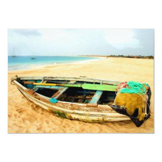 Fishing Dory on the Beach 13 Cm X 18 Cm Invitation Card