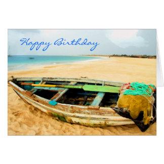 Fishing Dory on the Beach Greeting Card
