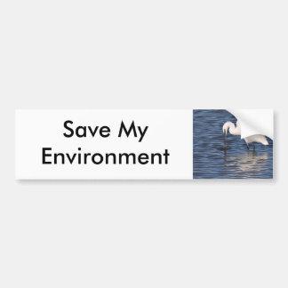 Fishing Egret Car Bumper Sticker