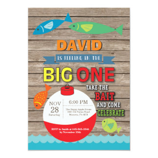 Fishing First Birthday Invitation Big One Rustic