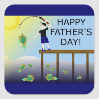 fishing fish father's day father dad square stickers