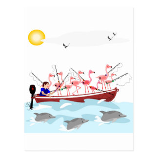 Fishing flamingos postcards