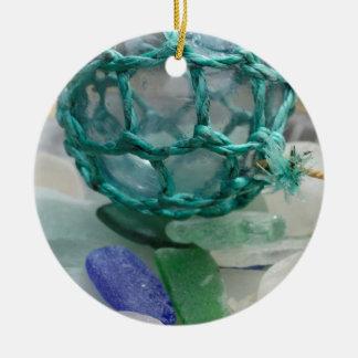 Fishing float on glass, Alaska Round Ceramic Decoration