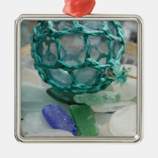 Fishing float on glass, Alaska Silver-Colored Square Decoration