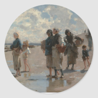 Fishing for Oysters at Cancale - John Sargent Round Sticker