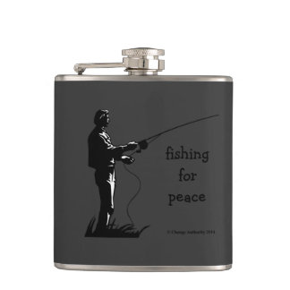 fishing for peace hip flask