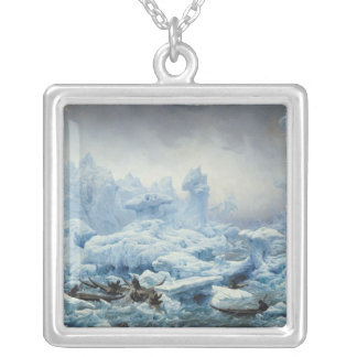 Fishing for Walrus in the Arctic Ocean, 1841 Silver Plated Necklace