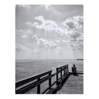 Fishing From Pier In Altlantic Ocean Postcard