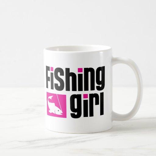 Fishing Girl Basic White Mug