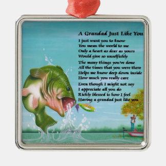 Fishing - Grandad Poem Silver-Colored Square Decoration