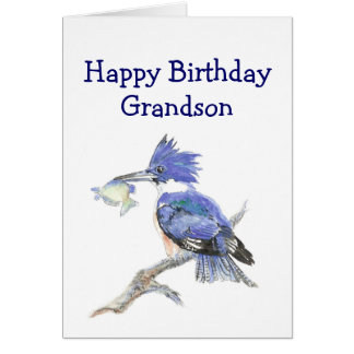 Fishing Grandson  Birthday Humor The Kingfisher Greeting Card