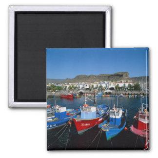 Fishing Harbor, Puerto de Mogan, Gran Canaria, Square Magnet