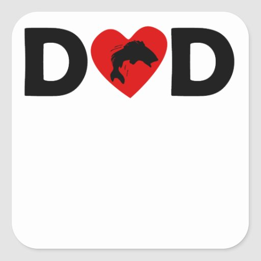 Fishing Heart Dad Square Sticker