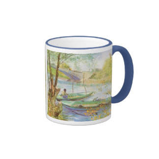 Fishing in Spring by Vincent van Gogh Ringer Coffee Mug