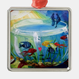 Fishing in the aquarium christmas ornament