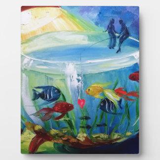 Fishing in the aquarium photo plaque