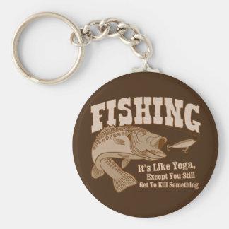 Fishing: It's like Yoga, except you kill something Basic Round Button Key Ring