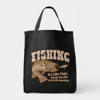 Fishing: It's like Yoga, except you kill something Grocery Tote Bag