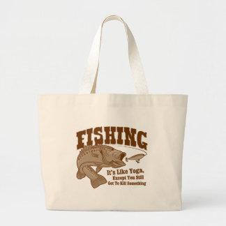 Fishing: It's like Yoga, except you kill something Jumbo Tote Bag