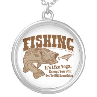 Fishing: It's like Yoga, except you kill something Round Pendant Necklace