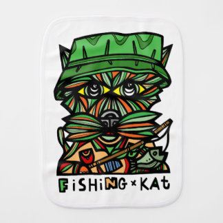 """Fishing Kat"" Burp Cloth"