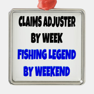 Fishing Legend Claims Adjuster Silver-Colored Square Decoration