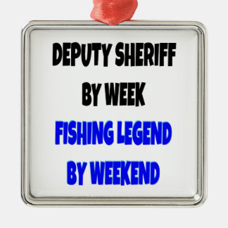 Fishing Legend Deputy Sheriff Silver-Colored Square Decoration